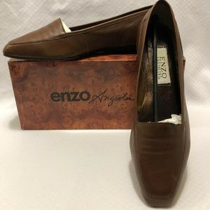 ENZO ANGIOLINI LIBERTY LION BROWN LEATHER LOAFERS